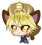 1boy ahoge blonde_hair blush chibi coin gijinka hat hoodie jeans meowth niko_(therebelphoenix) original pants pokemon pout sinamuna sitting solo wariza yellow_eyes