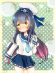 1girl :o bangs beret black_hair blue_bow blue_necktie blue_skirt blush bow collarbone commentary_request contrapposto cowboy_shot crescent_moon eyebrows_visible_through_hair gloves gradient_hair green_eyes hair_bow hand_up hat juliet_sleeves kantai_collection long_hair long_sleeves looking_at_viewer matsuwa_(kantai_collection) moon multicolored_hair necktie parted_lips pleated_skirt polka_dot polka_dot_background puffy_sleeves purple_hair school_uniform serafuku shirt skirt solo star starry_background tareme very_long_hair white_gloves white_hat white_shirt