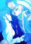 2girls blue couple eye_contact gunpuku_no_himegimi hand_holding hat highres light_smile looking_at_another military military_uniform monochrome moyashi_namio multiple_girls re:creators shimazaki_setsuna uniform yuri