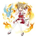 1girl :o animal_ears arm_ribbon bell brown_hair cat_ears cat_tail fire hair_bell hair_ornament highres japanese_clothes jingle_bell magic miko official_art pina_(sao) red_eyes ribbon ribbon-trimmed_legwear ribbon_trim sandals short_hair short_twintails silica sleeveless solo sword_art_online tail thigh-highs transparent_background twintails