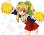 1girl ;d arm_up blonde_hair blue_eyes cheerleader commentary_request dress flat_chest frilled_dress frills hair_ribbon highres leaning_forward long_hair looking_at_viewer m.m one_eye_closed open_mouth pom_poms ponytail red_dress ribbon rockman rockman_(classic) roll smile solo star starry_background