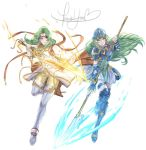 2girls aqua_hair armor belt blue_armor blue_eyes blue_greaves blue_helmet boots breastplate cape closed_mouth detached_sleeves elincia_ridell_crimea female fire_emblem fire_emblem:_akatsuki_no_megami fire_emblem:_souen_no_kiseki fire_emblem_heroes floating_hair full_body gloves greaves green_hair hair_bun helmet holding holding_spear holding_sword holding_weapon krazehkai long_hair looking_at_viewer multiple_girls nephenee nintendo parted_lips polearm princess serious shield side-by-side skirt smile spear sword thigh-highs thigh_boots tiara weapon white_background white_boots white_clothes white_skirt