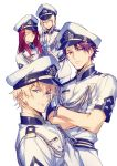 bedivere blonde_hair blue_eyes closed_eyes fate/extra fate/grand_order fate_(series) gawain_(fate/extra) hat knights_of_the_round_table_(fate) lancelot_(fate/grand_order) long_hair multiple_boys peace_symbol peaked_cap purple_hair redhead sailor_hat short_hair smile tristan_(fate/grand_order) v violet_eyes xia_(ryugo)