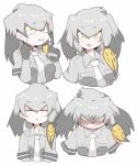 character_sheet eyebrows_visible_through_hair grey_hair grey_shirt head_wings kemono_friends ko1mitaka low_ponytail multicolored_hair necktie shirt shoebill_(kemono_friends) short_sleeves side_ponytail yellow_eyes