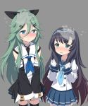 2girls bare_shoulders black_hair black_legwear black_ribbon black_serafuku black_skirt blue_eyes blue_neckerchief blue_sailor_collar blue_skirt blush buttons cnm detached_sleeves gradient_hair green_eyes green_hair grey_background hair_ribbon hands juliet_sleeves kantai_collection long_hair long_sleeves matsuwa_(kantai_collection) multicolored_hair multiple_girls neckerchief pleated_skirt puffy_sleeves ribbon sailor_collar school_uniform serafuku simple_background skirt thigh-highs yamakaze_(kantai_collection)