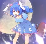 1girl animal_ears arms_behind_back blue_dress blue_hair blush breasts collarbone cowboy_shot crescent dress ear_clip full_moon hair_between_eyes hasebe_yuusaku highres kine leaning_forward long_hair looking_at_viewer medium_breasts moon parted_lips petals puffy_short_sleeves puffy_sleeves rabbit_ears red_eyes seiran_(touhou) short_sleeves smile solo star touhou