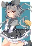 1girl animal_ears basket capelet dress frills grey_hair grey_skirt hair_ribbon high-waist_skirt highres jewelry karasusou_nano long_sleeves looking_at_viewer mouse mouse_ears mouse_tail nazrin pendant red_eyes ribbon short_hair simple_background skirt solo tail touhou