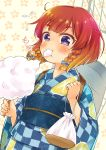1girl alternate_costume blush braid broiler checkered commentary_request cotton_candy eating etorofu_(kantai_collection) floral_print food gradient_hair highres holding holding_food japanese_clothes kantai_collection kimono multicolored_hair obi orange_hair redhead sash short_hair solo twin_braids twintails upper_body violet_eyes yukata