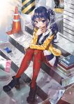 1girl artist_name bangs blue_eyes blue_hair book boots cigarette cigarette_box day dress eyebrows_visible_through_hair hand_on_own_knee highres holding holding_cigarette imai_midori jacket knees_up long_hair long_sleeves looking_at_viewer meoneo outdoors pantyhose parted_lips print_legwear red_legwear shirobako side_ponytail sitting smoke smoking solo stairs star star_print traffic_cone
