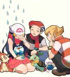 1girl 2boys beanie beret berry black_hair blonde_hair blue_hair blush brown_eyes chimchar closed_eyes crying dotted_background hat hikari_(pokemon) jun_(pokemon) kouki_(pokemon) long_hair multiple_boys onaramaru piplup pokemon pokemon_(game) pokemon_dppt red_scarf scarf scratching_cheek seiza sitting smile squatting teardrop turtwig