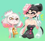 +_+ 2girls ;d ^_^ aori_(splatoon) black_hair blue_background blush breasts cleavage closed_eyes crown domino_mask dress earrings fangs female gloves hair_ornament happy hime_(splatoon) jewelry low_twintails m10shangrila mask mini_crown mole mole_under_eye mole_under_mouth multiple_girls one_eye_closed open_mouth pointy_ears shirt short_hair simple_background sleeveless sleeveless_dress smile splatoon splatoon_2 strapless strapless_dress symbol-shaped_pupils teeth tentacle twintails white_hair white_shirt yellow_eyes zipper