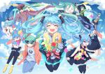 6+girls absurdly_long_hair absurdres aimaina anniversary black_legwear black_necktie black_skirt blue_eyes blue_hair blue_necktie blush closed_eyes collarbone common_world_domination_(vocaloid) denim facing_viewer hachune_miku hatsune_miku highres jeans long_hair multiple_girls necktie odds_&_ends_(vocaloid) open_mouth pants ren'ai_saiban_(vocaloid) revision romeo_to_cinderella_(vocaloid) senbon-zakura_(vocaloid) shinkai_shoujo_(vocaloid) siji_(szh5522) skirt smile songover suna_no_wakusei_(vocaloid) sunglasses tell_your_world_(vocaloid) thigh-highs twintails very_long_hair vocaloid