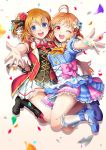 2girls :d ;d ahoge black_ribbon blonde_hair blue_eyes bokura_no_live_kimi_to_no_life boots confetti flower hair_flower hair_ornament highres jumping kousaka_honoka love_live! love_live!_school_idol_project love_live!_sunshine!! multiple_girls one_eye_closed open_mouth outstretched_arms pink_ribbon red_eyes ribbon sha short_hair smile takami_chika white_background