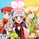 1girl 2boys beanie beret black_eyes black_hair blonde_hair blue_eyes blush brown_eyes chimchar green_scarf hat hikari_(pokemon) jun_(pokemon) kouki_(pokemon) multiple_boys piplup pointing pointing_at_self pokemon pokemon_(game) pokemon_dppt red_scarf remotarou scarf smile trio turtwig