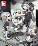 absurdres arms_behind_back bike_shorts character_request closed_eyes closed_mouth glasses headphones highres indian_style inkling looking_at_viewer one_eye_closed pants pointy_ears red_eyes sandals shoes sitting sneakers splatoon splatoon_2 spot_color standing tagme thick_eyebrows yoneyama_mai