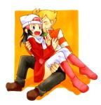 1boy 1girl alternate_costume beanie black_eyes black_hair blonde_hair blush boots carrying coat hat hikari_(pokemon) jun_(pokemon) long_hair lowres nuzzle orange_(color) pokemon pokemon_(game) pokemon_dppt princess_carry red_boots red_coat sakake_asobi scarf sitting sitting_on_lap sitting_on_person striped striped_sweater surprised sweater thigh-highs white_legwear