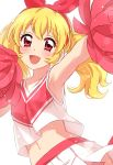 aikatsu! armpits bangs blonde_hair blush bow breasts cheerleader eyebrows_visible_through_hair hair_bow highres hoshimiya_ichigo looking_at_viewer midriff navel open_mouth pink_eyes pleated_skirt pom_pom_(clothes) red_bow red_shirt sekina shirt simple_background skirt small_breasts smile standing twintails upper_body white_background white_skirt