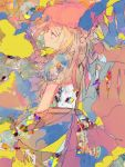 1girl abstract alternate_costume anabone blonde_hair bow colorful crystal flandre_scarlet frilled_shirt frills hat long_hair medium_hair mob_cap multicolored puffy_short_sleeves puffy_sleeves ribbon shirt short_sleeves side_ponytail solo touhou wings