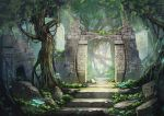 commentary_request day fantasy forest gate miso_katsu moss mushroom nature no_humans original outdoors plant rock ruins scenery stone stone_wall tree wall