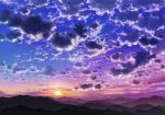 blue_sky clouds cloudy_sky commentary_request gradient_sky highres hill horizon mountain mountainous_horizon no_humans outdoors purple_sky sakanamodoki scenery sky sun sunset