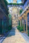 angelmaster arch arsenixc blue_sky bush city column commentary_request day highres no_humans outdoors path pillar pot road scenery sky stairs sunlight tower watermark