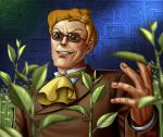 >:d 1boy :d ascot bald brown_jacket business_suit buttons cat commentary_request dated evil_grin evil_smile fingernails formal grin leaf long_sleeves looking_at_viewer male_focus matataku muska open_mouth orange_fur parted_lips plant signature smile solo suit sunglasses tenkuu_no_shiro_laputa yellow_ascot