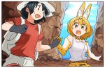 2girls :d :o animal_ears backpack bag bare_shoulders black_eyes black_gloves black_hair blonde_hair blush canyon cliff clouds day elbow_gloves extra_ears gloves hand_holding hat highres interlocked_fingers kaban_(kemono_friends) kasa_list kemono_friends looking_at_another multiple_girls open_mouth outdoors print_bowtie print_gloves red_shirt serval_(kemono_friends) serval_ears serval_print shirt short_hair short_sleeves sky sleeveless smile white_shirt yellow_eyes