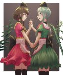2girls bamboo black_bow bow branch brown_background brown_hair commentary_request dress frills green_dress green_eyes green_hair hand_holding hat interlocked_fingers leaf looking_at_another multiple_girls nishida_satono pink_dress puffy_short_sleeves puffy_sleeves red_bow red_eyes red_ribbon ribbon roke_(taikodon) short_hair_with_long_locks short_sleeves smile tate_eboshi teireida_mai thigh-highs touhou yellow_bow yellow_ribbon