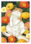 animal brown_fur cat closed_eyes closed_mouth commentary_request facing_viewer field flower flower_field flower_request leaf no_humans original sleeping takigraphic