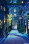 angelmaster arch arsenixc bush city column commentary_request highres night night_sky no_humans outdoors path pillar pot road scenery sky stairs star_(sky) starry_sky tower watermark