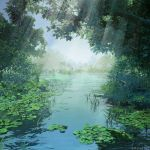 angelmaster arsenixc blue_sky commentary_request dappled_sunlight day highres no_humans outdoors plant river scenery sky sunlight swamp tree watermark