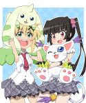 2girls :3 :d akatsuki_kirika animal animal_on_head bangs black_hair blonde_hair blue_eyes blush bow crossover digimon fang green_eyes hair_bow hair_ornament holding holding_animal long_hair multiple_girls necktie on_head one_eye_closed open_mouth pink_bow pleated_skirt red_necktie school_uniform senki_zesshou_symphogear short_hair skirt smile tail tsukuyomi_shirabe violet_eyes x_hair_ornament yaya_(20090410)
