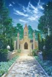 angelmaster arsenixc blue_sky bush church clouds cloudy_sky commentary_request day door forest grass highres nature no_humans outdoors path plant road scenery sky stairs tree watermark