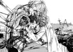 2boys amputee arm_over_shoulder armor bedivere blood bloody_clothes braid cape crying fate/grand_order fate_(series) french_braid fujimaru_ritsuka_(male) greyscale impaled long_hair male_focus monochrome multiple_boys sword tears weapon