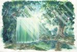commentary dappled_sunlight day forest highres nature no_humans original outdoors river sawitou_mizuki scenery sunlight traditional_media water waterfall