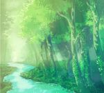 commentary_request dappled_sunlight day forest miso_katsu nature no_humans original outdoors river scenery sunlight tree