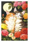 animal blue_eyes brown_fur cat closed_eyes closed_mouth commentary_request flower full_moon ladybug looking_at_viewer moon night night_sky no_humans one_eye_closed orange_fur original pink_rose red_rose rose signature sky takigraphic white_fur yellow_rose