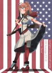 1girl bandanna blue_eyes brown_hair commentary_request english explosive flag_background gun handgun hat holding holding_gun holding_weapon kantai_collection kitsuneno_denpachi long_hair mine_(weapon) revolver rifle saratoga_(kantai_collection) shirt shoes short_sleeves side_ponytail sidelocks skirt skirt_lift solo submachine_gun thigh-highs thompson_submachine_gun trigger_discipline weapon