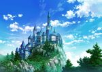 blue_sky castle cliff clouds cloudy_sky commentary_request day forest highres nature no_humans outdoors sakanamodoki scenery sky tower tree