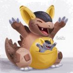 artist_name closed_eyes commentary eric_proctor full_body hands_up kangaskhan no_humans open_mouth pokemon_(creature) pouch signature standing