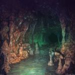 angelmaster arsenixc cave commentary_request dark highres indoors no_humans river scenery stalactite stalagmite stone water watermark