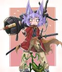 1girl animal_ears bangs belt blush closed_mouth collar dog_ears doitsuken eyebrows_visible_through_hair fang fang_out flying_sweatdrops foreshortening gun highres holding holding_gun holding_weapon jacket katana knife laser_sight leg_belt looking_down messy_hair multiple_swords original over_shoulder pants perspective pink_background pocket praying_mantis red_eyes red_jacket rocket_launcher science_fiction shoes short_hair slit_pupils solo spiked_collar spikes standing sword weapon weapon_over_shoulder yellow_pants