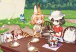 4girls :d animal_ears backpack backpack_removed bag black_gloves black_hair blonde_hair brown_eyes brown_hair bucket_hat chair colivt commentary curry curry_rice day elbow_gloves eurasian_eagle_owl_(kemono_friends) eyebrows_visible_through_hair eyes_visible_through_hair fang flower food forest gloves grass green_eyes hair_between_eyes hat hat_feather head_wings high-waist_skirt kaban_(kemono_friends) kemono_friends ladle looking_at_another lucky_beast_(kemono_friends) multiple_girls nature northern_white-faced_owl_(kemono_friends) open_mouth outdoors paw_pose peeking_out plate pot print_bowtie print_gloves print_skirt red_shirt rice serval_(kemono_friends) serval_ears serval_print serval_tail shirt skirt sleeveless sleeveless_shirt smile sparkling_eyes spoon steam striped_tail table tail white_hair white_shirt wooden_table yellow_eyes
