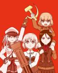 4girls absurdres crossover gangut_(kantai_collection) girls_und_panzer hairband hammer_and_sickle highres hoshino_banchou kantai_collection katyusha looking_at_viewer military military_uniform multiple_girls nonna red red_background sanya_v_litvyak simple_background soviet_union strike_witches traditional_media uniform weapon world_witches_series