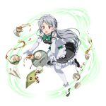 1girl accident apron black_shoes blush bow bowtie cookie cup dropping elbow_gloves falling food frilled_gloves frills full_body gloves green_bow green_bowtie highres leaning_forward long_hair maid maid_headdress napkin one_leg_raised open_mouth pointy_ears seven_(sao) shoes silver_hair solo spoon sugar_cube sweatdrop sword_art_online teacup thigh-highs transparent_background very_long_hair violet_eyes white_apron white_gloves white_legwear
