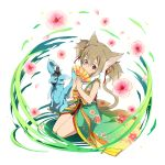 1girl animal_ears brown_hair cat_ears cat_tail fan floral_print flower hair_ribbon hands_together highres holding holding_fan japanese_clothes looking_at_viewer official_art pina_(sao) red_eyes ribbon seiza short_hair short_twintails silica sitting sleeveless smile sword_art_online tail transparent_background twintails