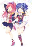 2girls :d aikatsu! arm_belt bangs belt_collar black_gloves blue_eyes blue_hair blue_jacket blue_skirt blush booota boots bow brown_eyes character_request checkered checkered_legwear commentary_request epaulettes eyebrows_visible_through_hair fingerless_gloves fishnet_legwear fishnets full_body gloves hair_bow hand_in_hair high_heel_boots high_heels highres jacket leg_belt long_hair long_sleeves looking_at_viewer multiple_girls musical_note musical_note_necklace one_eye_closed one_side_up open_mouth pink_boots pink_hair pink_jacket ponytail purple_bow scrunchie simple_background skirt smile standing standing_on_one_leg white_background