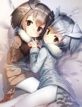 2girls :o absurdres bangs bed_sheet bird_tail blonde_hair blush brown_coat brown_eyes brown_hair coat eurasian_eagle_owl_(kemono_friends) eyebrows_visible_through_hair from_above fur-trimmed_sleeves fur_collar fur_trim gradient_hair grey_coat hand_holding highres interlocked_fingers kemono_friends long_sleeves looking_at_viewer looking_up lying multicolored_hair multiple_girls northern_white-faced_owl_(kemono_friends) on_bed on_side pantyhose parted_lips shiny shiny_hair short_hair signature silver_hair sparkle tail tareme white_legwear winter_clothes winter_coat yamacchi yellow_eyes