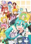 4boys 6+girls absurdres aoki_lapis aqua_eyes aqua_hair black_rock_shooter black_rock_shooter_(character) blonde_hair blue_eyes blue_hair bow brown_eyes brown_hair closed_eyes dead_master earmuffs green_eyes green_hair hands_up hatsune_miku headphones headset highres ia_(vocaloid) kagamine_len kagamine_rin kaito kamui_gakupo kasane_teto lily_(vocaloid) long_hair looking_at_viewer megurine_luka meiko miniskirt multiple_boys multiple_girls necktie nekomura_iroha niconico open_eyes open_mouth sf-a2_miki short_hair skirt smile star television twintails utatane_piko utau v vocaloid voiceroid yowane_haku yuzuki_yukari zakuro_(rinlen115)