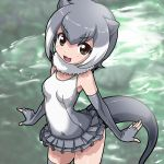 1girl :3 absurdres elbow_gloves eyebrows_visible_through_hair fingerless_gloves frilled_swimsuit frills from_above fur_collar gloves grey_gloves grey_hair grey_legwear grey_swimsuit highres kemono_friends looking_at_viewer multicolored_hair open_mouth otter_ears otter_tail rohitsuka short_hair small-clawed_otter_(kemono_friends) smile solo swimsuit thigh-highs two-tone_hair water white_hair